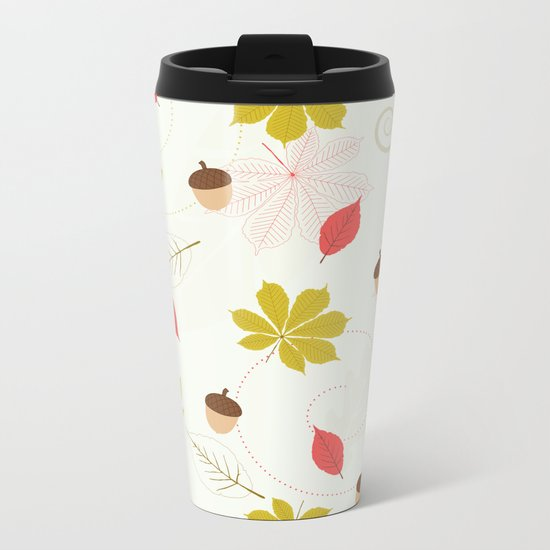 Autumn Pattern Metal Travel Mug