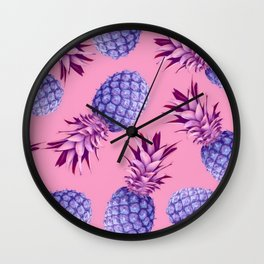 Violet pineapples Wall Clock