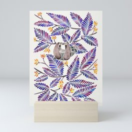 Happy Sloth – Tropical Indigo Leaves Mini Art Print