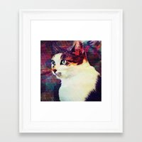 80s Framed Art Prints featuring 80s Cat by Bunhugger Design
