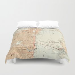 Vintage Map of Miami Florida (1950) Duvet Cover