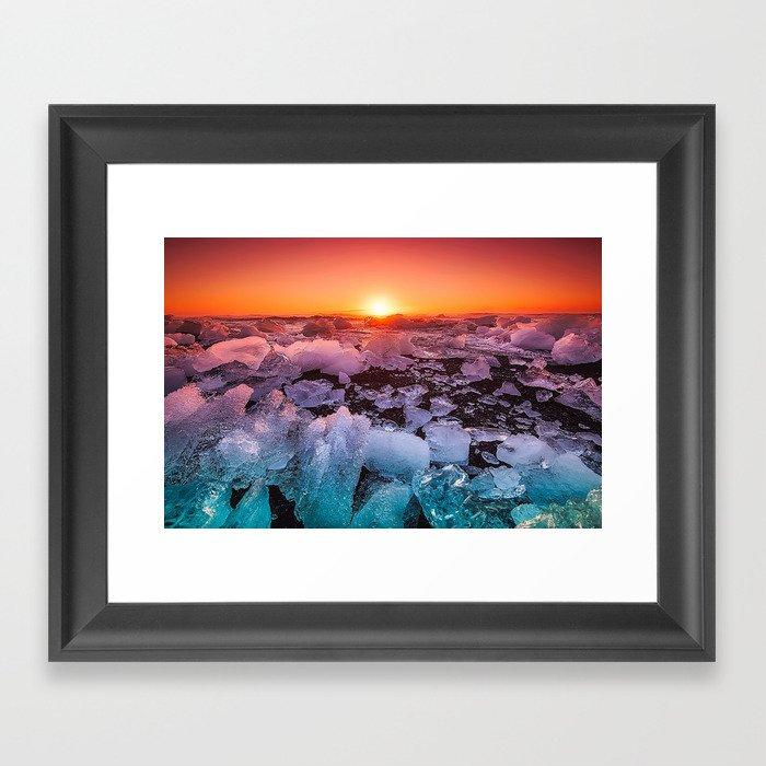 Ice of Antarctica's Sunset Framed Art Print