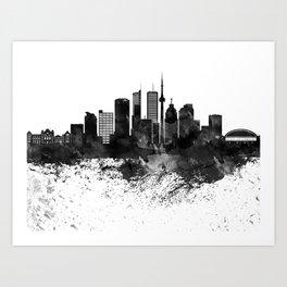 Toronto Black White Drops Skyline Art Print