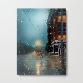 Sixth Street in the Rain Metal Print