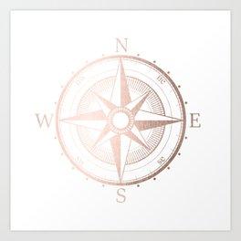 Rose Gold Compass Art Print