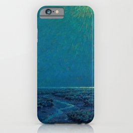 Coast of Tuscany, Italy under a Blue Moon landscape painting by Granville Redmond iPhone Case