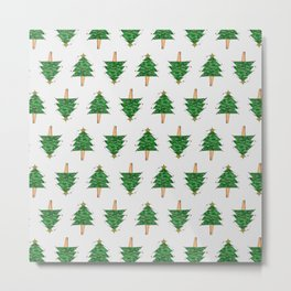 Christmas Tree pattern on White Metal Print