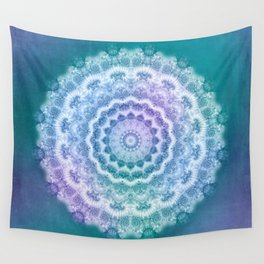 White Mandala on Teal, Purple and Navy Wall Tapestry