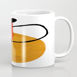 Mid Century Modern Abstract Vintage Pop Art Space Age Pattern Orange Yellow Black Orbit Accent Coffee Mug