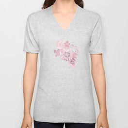 Watercolor floral art pink & grey on ash blue Unisex V-Neck
