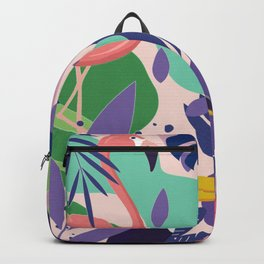 Tropical Jungle With Flamingos And Toucans Memphis Style Backpack