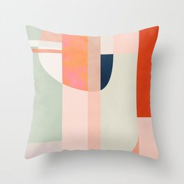 shapes modern mid-century peach pink coral mint Throw Pillow