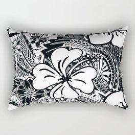 Polynesian White Hibiscus Rectangular Pillow