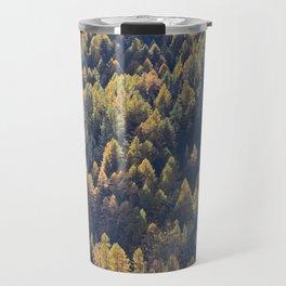Beautiful autumn forest in mountain Travel Mug