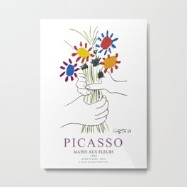 Picasso Exhibition - Mains Aus Fleurs (Hands with Flowers) 1958 Artwork Metal Print