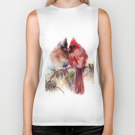 Cardinal Birds Couple Biker Tank