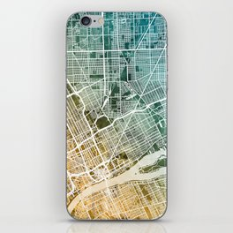 Detroit Michigan City Map iPhone Skin