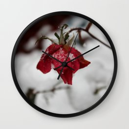 Red Rose Kissed by the Snow Wall Clock
