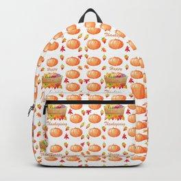 Watercolour Pumpkin Turkey Pattern Happy Thanksgiving Backpack