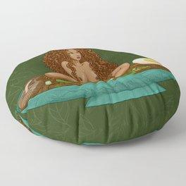 Brown curly ramen girl Floor Pillow