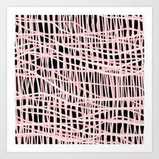 Net Blush on Black Art Print