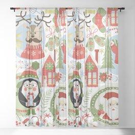 Holiday Christmas Winter Wonderland with Hipster Santa Reindeer Polar Bears and Penguins Sheer Curtain