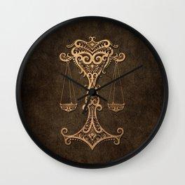 Vintage Rustic Libra Zodiac Sign Wall Clock