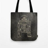 r2d2 Tote Bags featuring R2D2 by LindseyCowley