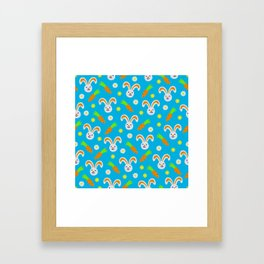 Easter Bunny and Carrots Pattern Framed Art Print