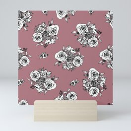 Mauve Flower Pattern with White Flowers Mini Art Print