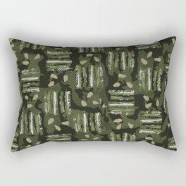 Dots and Stripes Camo Green Rectangular Pillow