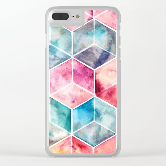 Translucent Watercolor Hexagon Cubes Clear iPhone Case