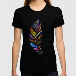 Colorful Watercolor Hand Drawn Tangle Feather T-shirt