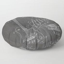Gibson Guitar Patent - Les Paul Guitar Art - Black Chalkboard Floor Pillow