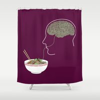 ramen Shower Curtains featuring Noodle Brain by 319 Heads