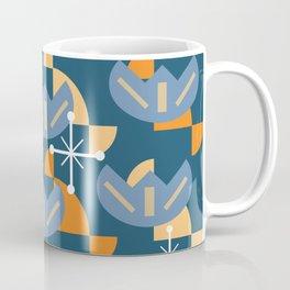 Atomic Era Funky Flowers (Blue & Orange) Coffee Mug