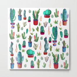 Watercolor Cactus Pattern Metal Print
