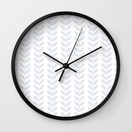 Light Grey Scandinavian leaves pattern Wall Clock
