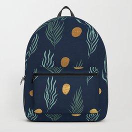 Gold dot and deep blue leaf pattern Backpack