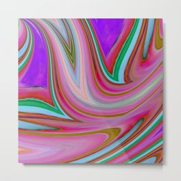 Pink and Purple Abstract Digital Art Metal Print