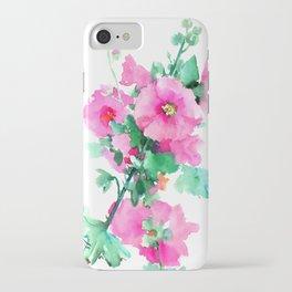 Hollyhock, Green pink design floral, Pink Flowers vintage floral design iPhone Case