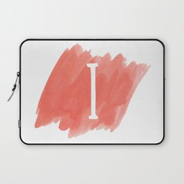 Letter I Coral Watercolor Laptop Sleeve