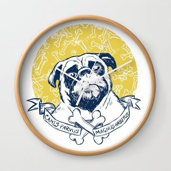 Pug : Small dog, big attitude. Wall Clock