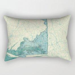 Maryland State Map Blue Vintage Rectangular Pillow