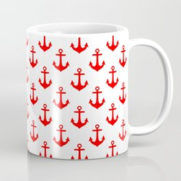 Anchors (Red & White Pattern) Coffee Mug