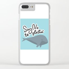 Say no to plastic. Whale, sea, ocean.  Pollution problem concept Eco, ecology banner poster. Clear iPhone Case