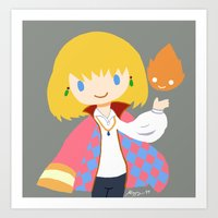 calcifer Art Prints featuring Howl and Calcifer by Mayying