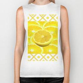 Yellow Grapefruit Pattern Art Biker Tank