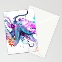 Octopus Watercolor Art Stationery Cards