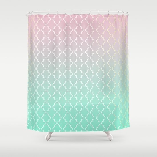 Moroccan pattern with mint pink and gold Shower Curtain by Kokos
